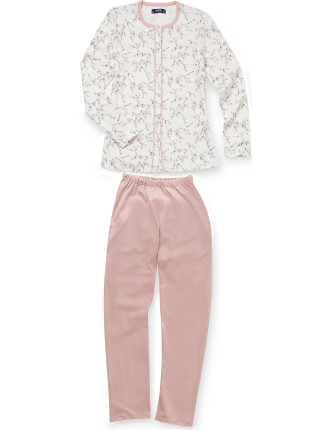 Round Neck Button Up Long Sleeve Pyjama with Lace