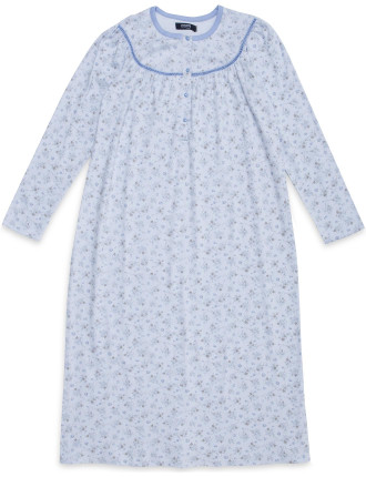 Round Neck Floral Button Up Long Sleeve Nightie