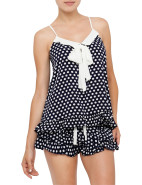 Navy Spot Shortie Set $69.90