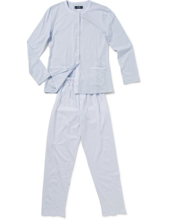 Long Sleeve Contrast PJ Set Button Down with Double Pocket