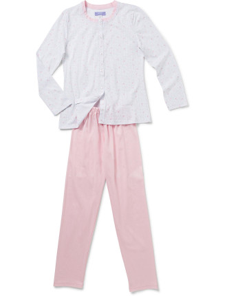 Long Sleeve PJ Set Button Down with Lace Collar Detail