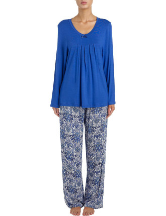 Evie Viscose Elastane Long Slv Plain Top Long Print Pant Pj