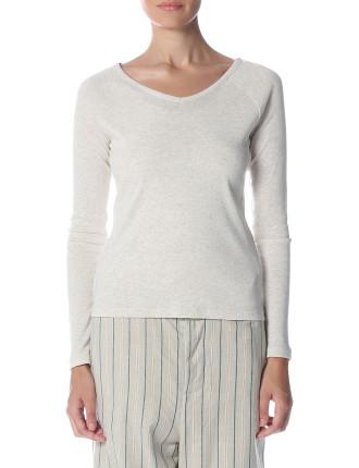 Basic Cotton Modal Long Sleeve Raglan V-Neck Top