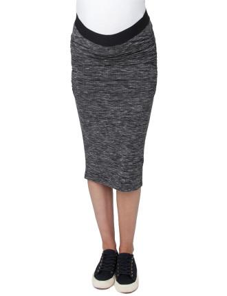 Ribbed Knit Midi Skirt