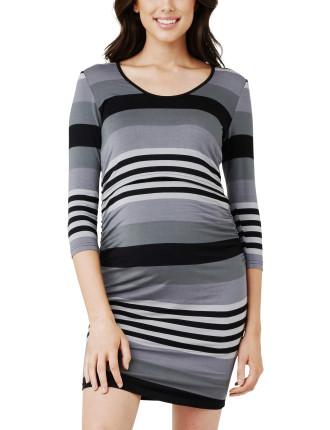 Striped Nursing Long Sleeve Tube Dress