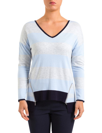 Stripe Zip Trim Pullover
