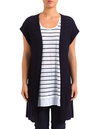 S/Slv Drop Shoulder Long Cardigan