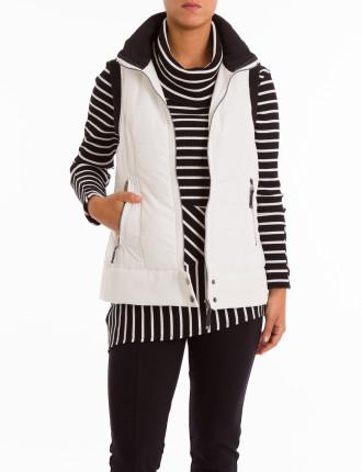 Quilt Puffer Vest W/Hood