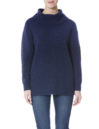 Cowl Neck Donegel Pullover