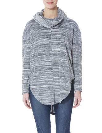 Velour Cowl Neck Pullover