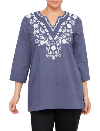 Embelished Neck Tunic Shirt