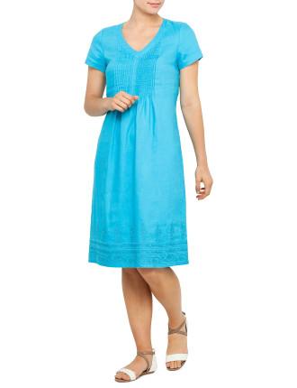 Cap Sleeve Linen Pintuck Dress with Hem Embriodery