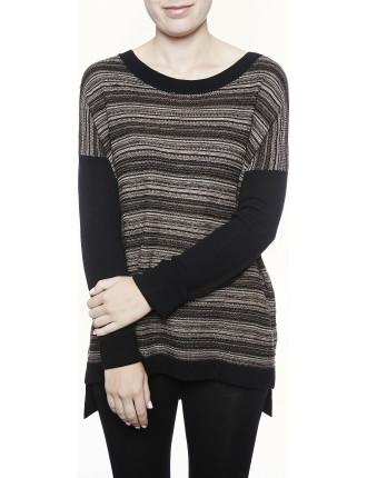 Fine Stripe Drop Shoulder Pullover