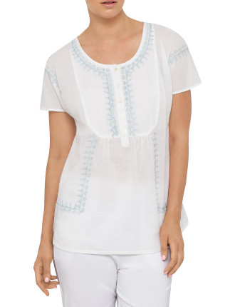 EMBROIDERED TEXTURED COTTON TOP