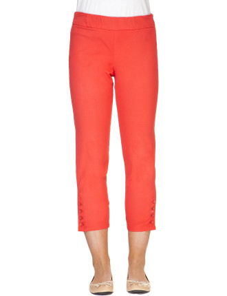 CARRIBEAN STRETCH TWILL PULL ON BUTTON HEM CROP PANT