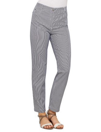 TICKING STRIPE STRETCH SLIM JEAN