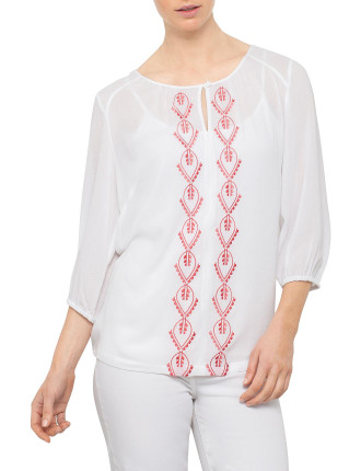 EMBROIDERED VOILE TUNIC SHIRT