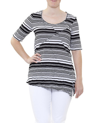 EXOTICA CRUSHED PANEL STRIPE TEE
