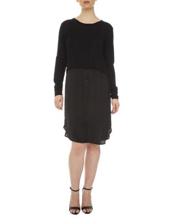 Luxe Mousseline Trim Knit Tunic Dress