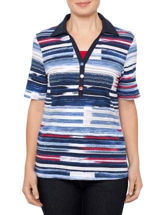 Streaky Bay Textured Stripe Polo