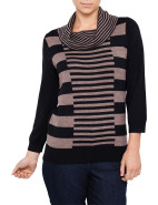Three-Quarter Sleeve Multi Stripe Cowl Neck Pullover $109.00