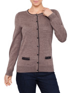 Long Sleeve Crew Neck Cardigan With Tipping $109.00
