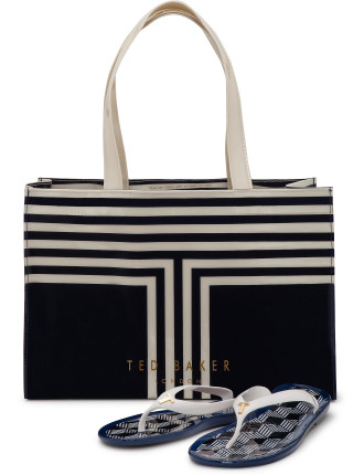 Tebag New Stripe Beach Bag And Thongs