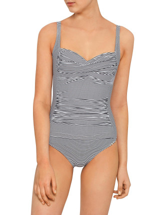 Ticking Stripe Cross Front D Cup One Piece