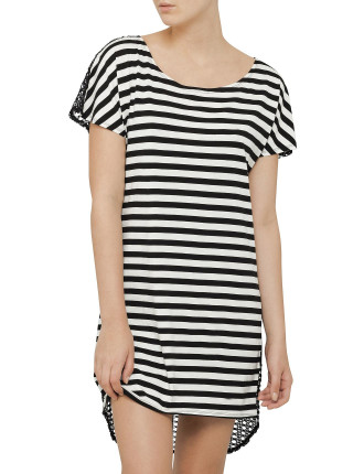 Stripe Tia Knit Front Lace Back Coverup