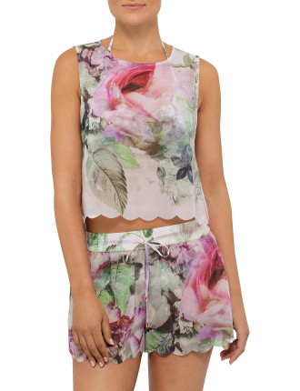 Scalpp Peony Scallop Cover Up Top