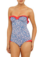 Abstract Paisley Frill Underwire One Piece $169.00