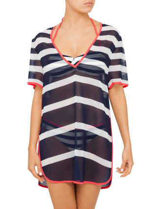 PARASOL STRIPE SHORT KAFTAN COVER UP