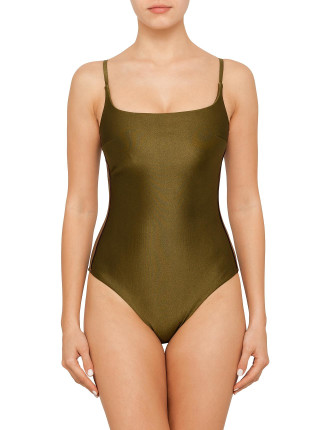 Bonded Scoop One Piece with Contrast Stripe