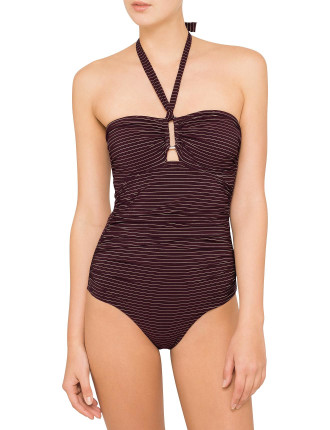 Burgundy Stripe Wide Link One Piece