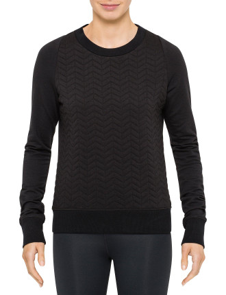 Quilted Front Crew Neck