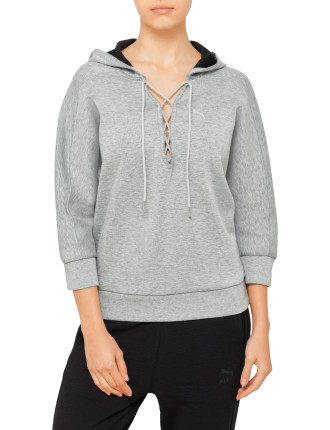 YOGINI CROPPED LACE UP HOODIE