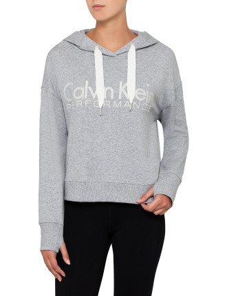 Long Sleeve Cropped Boxy Pullover Emroidered Logo Hoodie