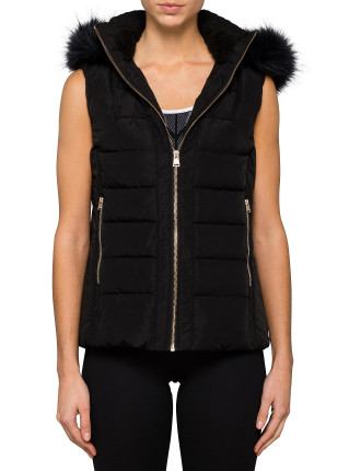 Faux Fur Trim Hood Poly Fill Vest w/ Sherpa