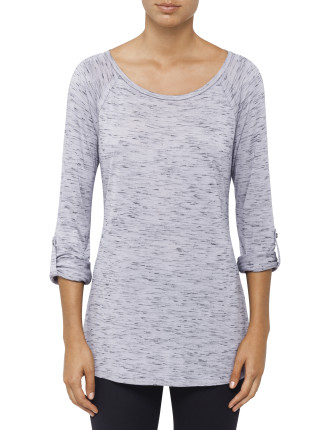 Convertible Long To 3/4 Sleeve Roll Tab Tunic