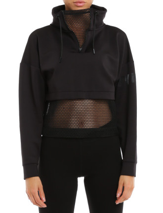 Open Mesh Panel Zip Funnel Sweat Long Sleeve