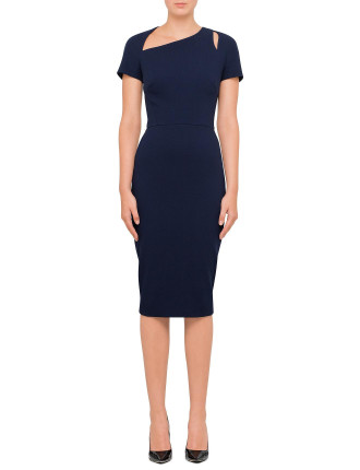 Cap Sleeve Cut Out Fitted Dress