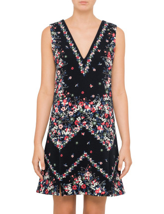 Elena Sleeveless V Neck Dress