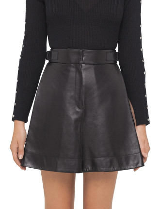 Glossed Lambskin Skirt With Side Pleat