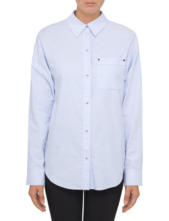 Oversized Men'S Shirt With Patch Pocket