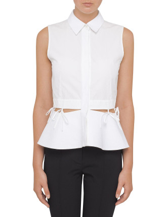 Sleeveless Button Down Shirt With Waist Ties