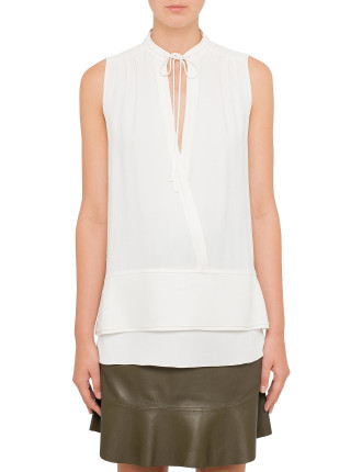 Sleeveless Satin Back Crepe Top