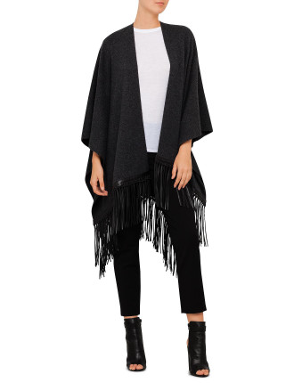 Luxe Poncho With Leather Fringe