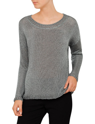 Metallic Open Crewneck Knit