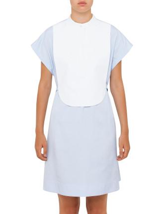 Bib Shirt Dress With Belt Detail