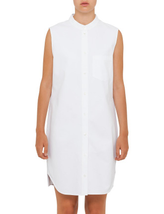 Staight Cut Shirt Dress With Back Placket